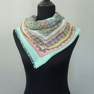 Accessories - Sea Foam Green Paisley Print Scarf