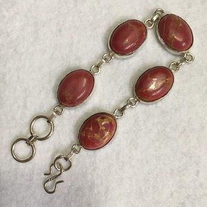 Jewelry - RED VARASCITE AND STERLING SILVER BRACELET