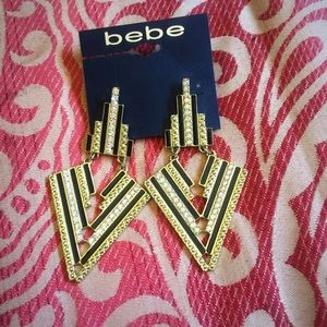 bebe Jewelry - New Bebe Large Gold Black Diamond Earrings