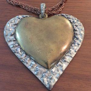 Vintage Jewelry - Statement Brutalist Brass Heart pendant necklace