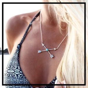Boho Chic Turquoise Crossing X Arrow Necklace
