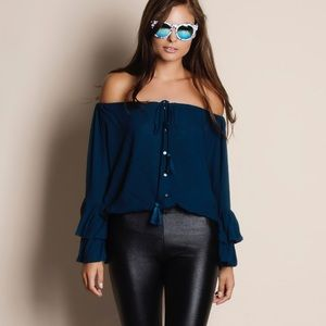 Bare Anthology Tops - Off Shoulder Pleated Bell Sleeve Top