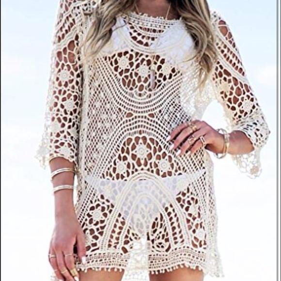 b53349c1c8 Dresses | Cream Crochet Dress Boho Festival Swim Coverup | Poshmark