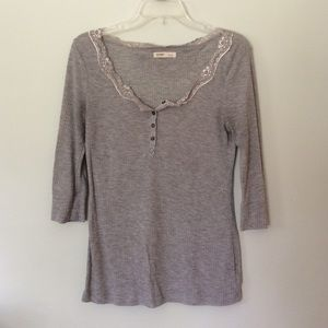 Grey Henley with Lace