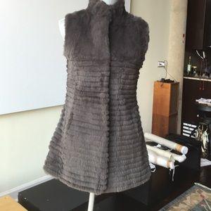 Beaver Fur Vest, Grey, Size S