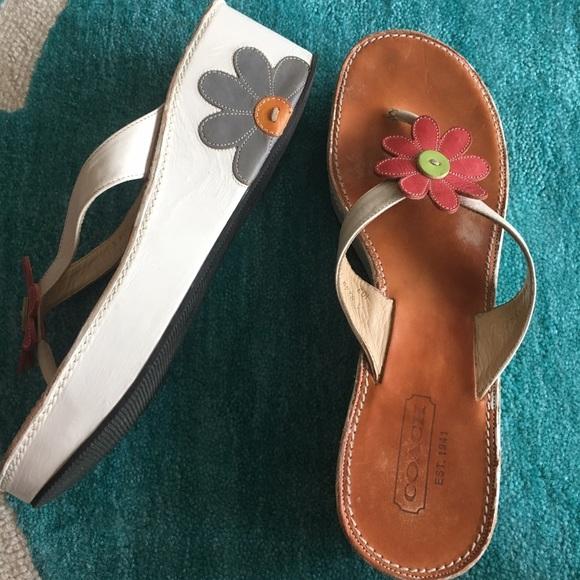 b5b352b7f45c Coach Shoes - Coach leather flower sandals flip flops