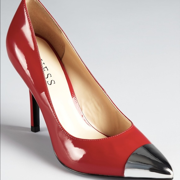 New Guess Heels. Pointed metallic cap toe