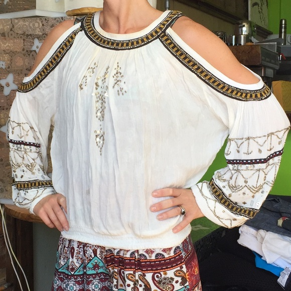 ac0dd421de585 Free People Tops - Free Prople cold shoulder beaded boho hippie top
