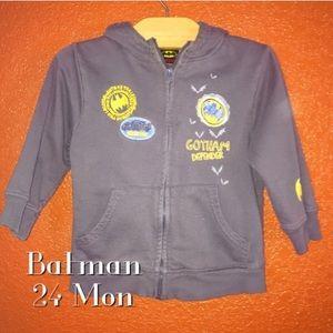 Batman Gray Zip Up Hoodie Sweater 24 Months