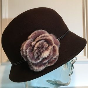 August Hats Accessories - Fur Accent Wool Hat