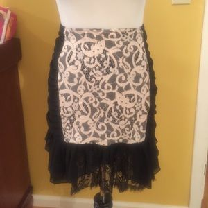 Forever 21 black lace and ivory high waist skirt