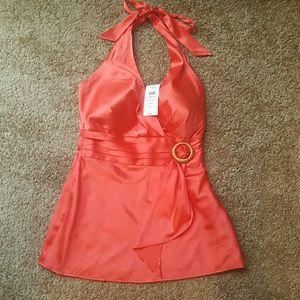 Cache orange  halter top. 92% silk and 8% spandex