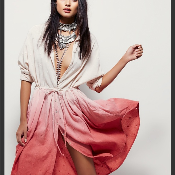2d6a5651539 Free People Dresses   Skirts - Free People Pink Ray Of Light Extreme  Buttondown