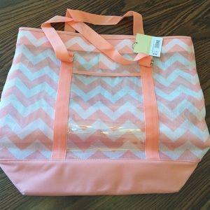 Large peach/coral nylon canvas tote bag. NWT