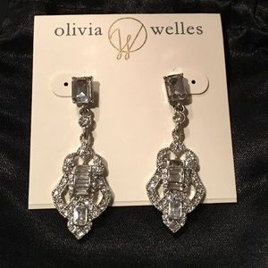 Olivia Welles Silver Deco Stone Drop Earrings