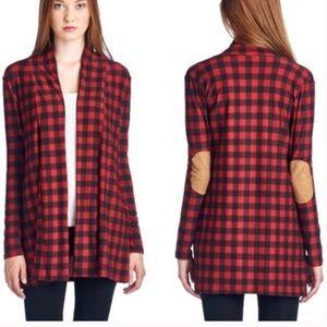 •checker elbow patch cardigan•