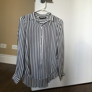 Tops - navy strip silk shirt