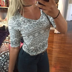 BOGO Black and white 3/4 sleeve soft crop top