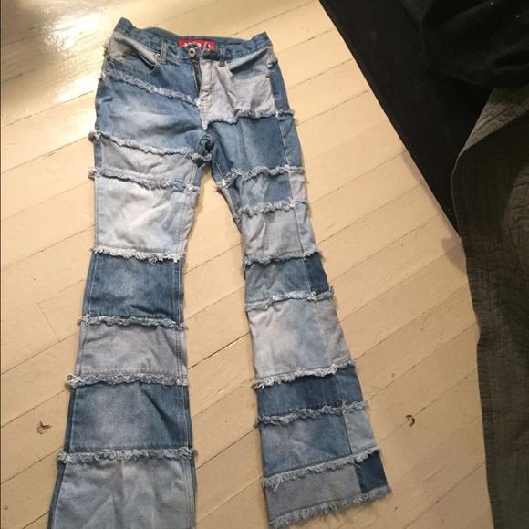 40% off Vintage Denim - 90s vintage patchwork flare denim jeans ...