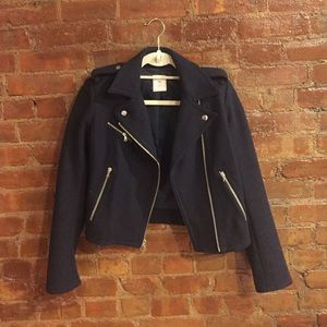 XS Gap Navy Wool Moto Jacket