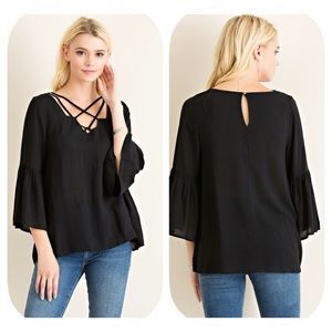 Tops - Strappy Neck Black Blouse