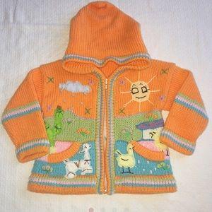 Other - Inka's Art Orange Acrylic Hoodie Jacket 24 Months