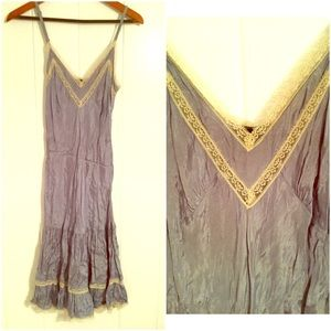 Anthropologie Dresses & Skirts - Blue lightweight dress with lace trim size 4