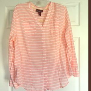 Pink and White Striped Shirt from Lane Bryant