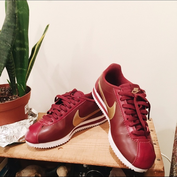 ff0b4b6e62d9 Nike Shoes - MAROON GOLD LEATHER NIKE CORTEZ