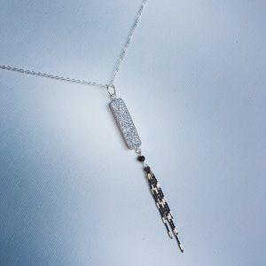 Sparkly Silver Druzy & Oxidized Silver Necklace