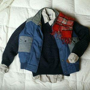 Vintage Lands' End Navy Dot Wool Sweater