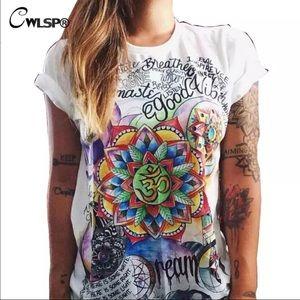Tops - Retro Graffiti Boho Good Vibes Tattoo Art T Shirt