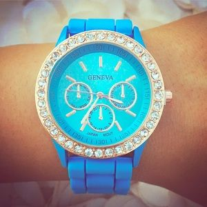 Blue Jelly Statement Watch Paved Rose Gold Face