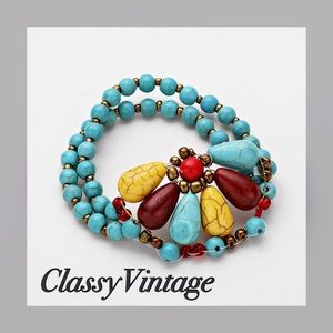 Jewelry - Turquoise, yellow and brown stretch bracelet.