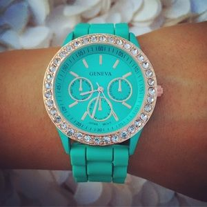 Rose Gold Rhinestone Mint Green Silicone watch