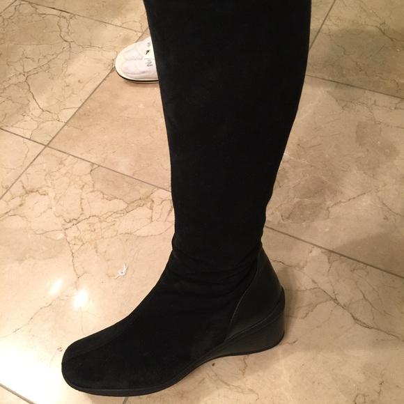 Sold Aquatalia Black Suede Wedge Boots