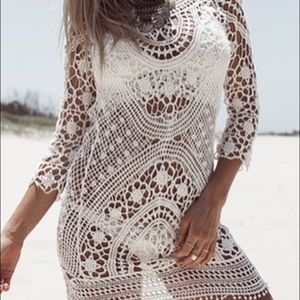 Lilac Shade Other - White crochet beach cover up