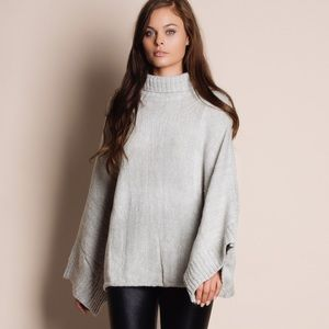 Grey Turtleneck Loose Oversized Sweater