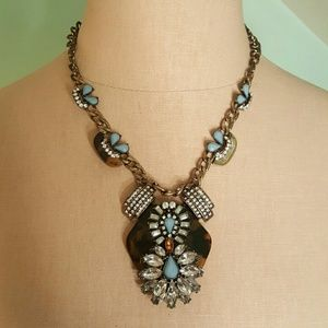 Tortoise and rhinestone statement necklace