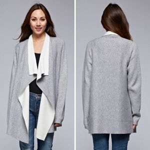 Double Faced Shawl Collar Front Sweater Cardigan
