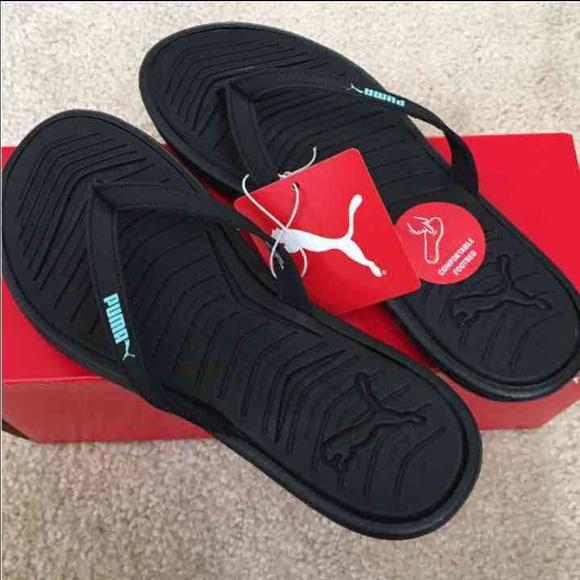 5eb48a17dcf8 NEW Puma Black Lux Flip Flop Sandals Slipper 7