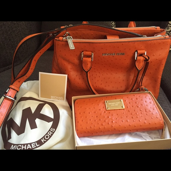 e6ab911aa646 Michael Kors Bags | Bedford Ostrich Embossed Leather | Poshmark