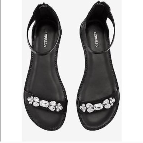 7fcb21fb5e9 Express Shoes | Black Rhinestone Flat Evening Sandals | Poshmark
