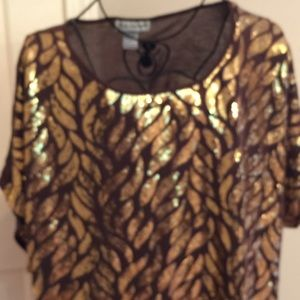 Tops - EUC GOLD SEQUINED BROWN TOP