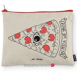 new ★ Jac Vanek ★ In Pizza We Trust Pouch ★ Canvas