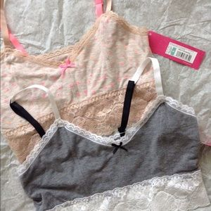 NWT Pink Peach and Gray White Bralettes