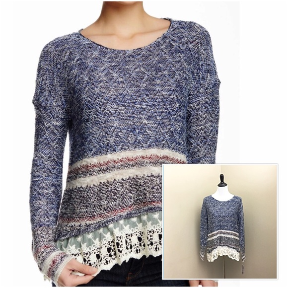 485e1df339 Jolt Chic Marled Striped Knit Sweater w  Lace Hem