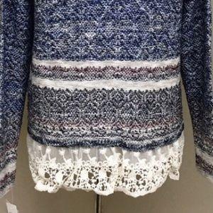 953d41739a Jolt Sweaters - Jolt Chic Marled Striped Knit Sweater w  Lace Hem