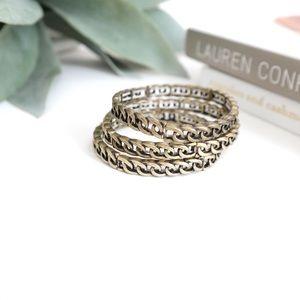 Set of 3 Antique Gold Chain Bracelets