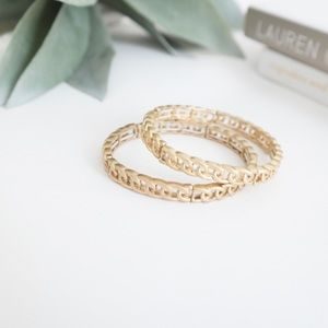 Pair of Gold Chain Stretch Bracelets